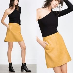 Zara Yellow Faux Leather A Line Skirt
